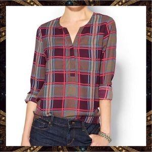 Pim + Larkin Plaid Pockets Hi-Low Blouse Size M